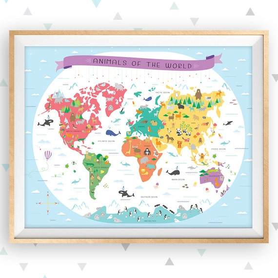 world map map of the world map wall art map nursery art educational poster classroom poster map poster animal map playroom art blue
