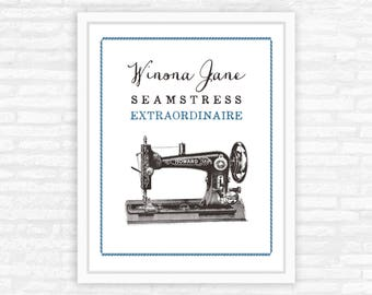 Sewing Machine Print, Personalized gift, Sewing Room Decor, Vintage Style