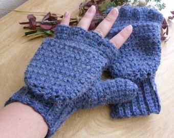 Blue Wool Convertible Mittens - Blue Alpaca Convertible Mittens - Blue Wool Fingerless Mittens - Blue Alpaca Fingerless Mittens