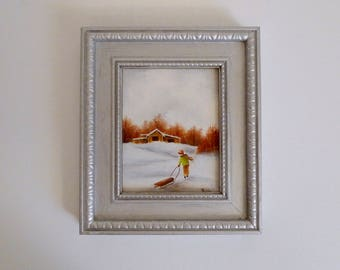 1970's Small Hand Painted Original Artwork Painting in Wood Frame - Winter Landscape Country Snowfall - Child with Sled