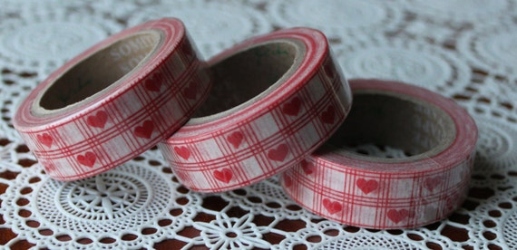Scrapbook Supplies- 1 roll. Washi Tape. Checker Hearts - Little Laser Lab