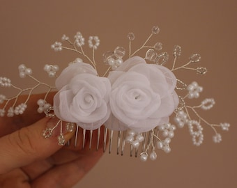 White roses Bridal Hair Comb Glass Pearls Hair Comb Wedding Headpiece Flower Hair Piece bridal jewelry Bridal Fascinator