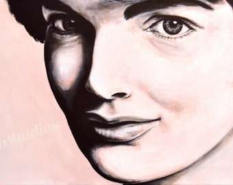 Jackie O Original Portrait Acrylic Painting on Canvas Pink Black White Jackie Onassis Kennedy Wall Art Decor Unique One of a Kind Gift Idea