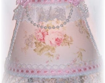 Cottage Chic Shabby Pink Roses NIGHT LIGHT with Ribbon and Lace