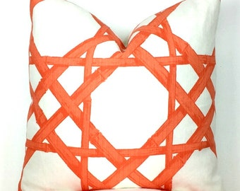 Coral and White Cyrus Cane Pattern Pillow Cover -  Choose 1 SIDED OR 2 SIDED  - Designer - Thibaut - High End - Trellis - Lattice - Bamboo