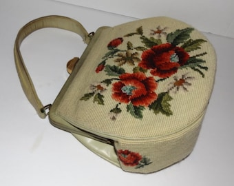 Vintage Roses Needlepoint Purse 1950's Handbag