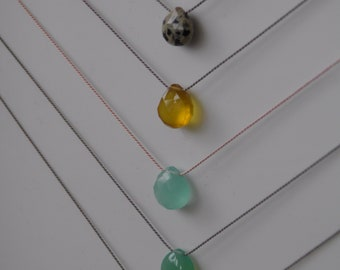 Gemstone Necklace on Silk Minimalist Understated Minimal, Labradorite, Chalcedony Turquoise Crystal Floating Wedding Simple Heart Briolette