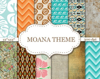 "MOANA THEME digital papers Ombre Chevron Digital papers Floral scrapbook papers Moana Tribal Digital Paper Instant download 12""x12"" #P137"