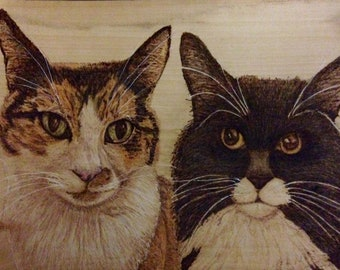 Wooden Pyrography Pet Portraits