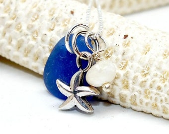 Cobalt Blue Sea Glass Necklace, Sea Glass Gift, Sea Glass Jewelry, Lake Erie Beach Glass, Beach Gift For Mom, Starfish Necklace, Sea Glass