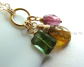 Ready to ship. Watermelon tourmaline. Olive gold, dark pink and forest green 3 gemstone briolette in 14k gold filled . Gold