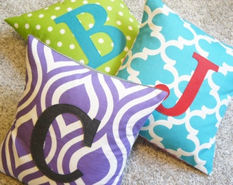 Custom monogrammed pillow cover, 20x20, made to order