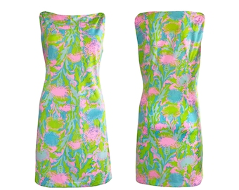 Vintage 1960s Neon Green Retro Mod Print Shift Mini Dress Floral Day Style SZ UK 12