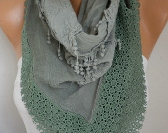 SALE - Sage Green Ombre Scarf, Fall Winter,Oversize Scarf,Cowl Scarf Gift Ideas for Her Women Fashion Accessories,Valentine's day gift