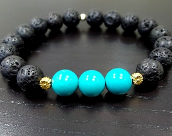 Beaded Bracelet/ Black Lava Onyx Bracelet with Turquoise Beads/ Black Stretchy Bracelet/ Black Beaded Bracelet with Turquoise Beads