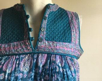 Vintage Rare 70s Smock Turquoise Blue Tent Gauze Cotton Dress