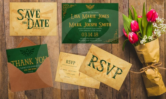 Legend of Zelda Wedding Invitation, RSVP, Save the Date & Thank You Card  DYI Template
