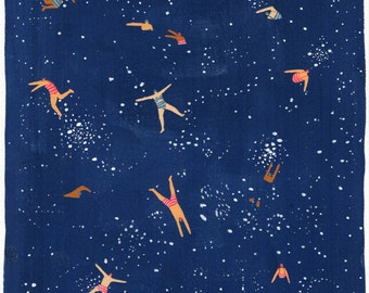 Sky swim - Art print of original painting by Helo Birdie - Navy blue night sky - Stars - astronomy - whimsical