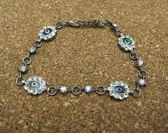 Evil Eye Bracelet sterling silver links