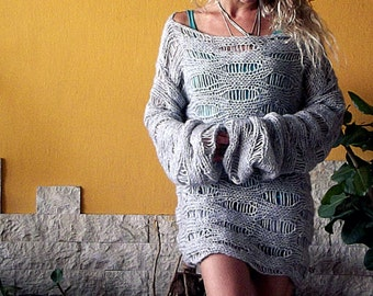 Gray Loose Knit Slouchy Sweater Hand Knit Sweater Women Knit Top Oversized Grunge Sweater