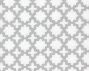 Little Prints by Studio K for Robert Kaufman, Gray Lattice Print on White #16198, 100% Cotton Double Gauze Fabric - Half Yard