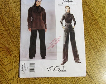 Paris DESIGNER Montana - Fit and Flare Fall Jacket & Straight Legged Cuffed Trousers - Size (8 - 10) - UNCUT Sewing Pattern Vogue 2345