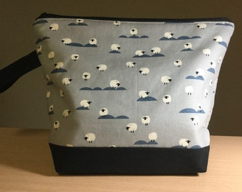 Sheep on Grey,  Zippered Knitting Project Bag