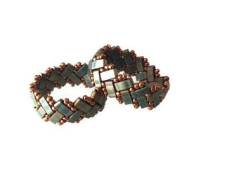 Antique Green Beadwork Ring, Khaki Beadwork Minimal Ring, Tila Beads Ring, Minimal Jewelry, Gift For Her, Gift For Woman, Christmas Gift