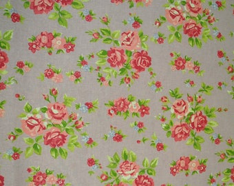 Rose Florals on Pink Fabric