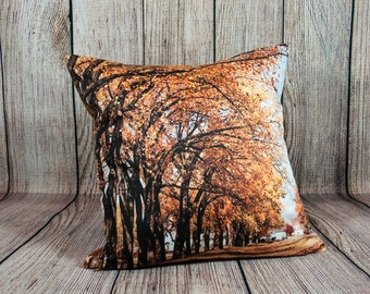 Fall Leaves Photo Pillow Case, Autumn Picture Throw Cushion Cover, Bronze, Decorative Bedroom Accent, Living Room Sofa, Rustic Man Cave