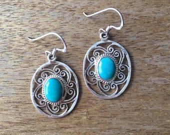Turquoise Earrings, Genuine Turquoise Earrings, Turquoise Filigree Earrings, Oval Shaped Turquoise 925 Sterling Silver Filigree Earrings