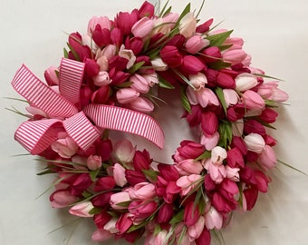 Spring Wreath with Bow, Tulip Wreath, Pink Tulip Wreath, Easter Wreath, Mother's Day Wreath, Front Door Wreath, Ready To Ship Wreath