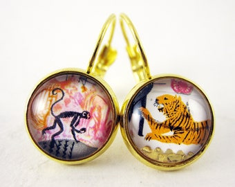 Circus Animals Leverback Earrings, 1983 Great Britain Postage Stamp Jewelry, Monkey, Tiger, Colourful, Mismatched, Nickel Free, Gold Plated