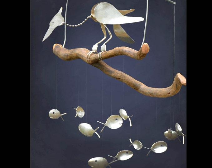 Bobbing Head Heron Bird And Silver Spoon Fish Wind Chime -outdoor Cabin Decor, Nautical Porch Decor, Whirlygig Whirly Gig, Heron Garden Art