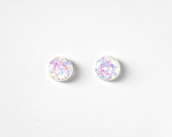 Chunky UNICORN Glitter Stud Earrings,mermaid earrings,white opal stud,iridescent stud,opal earrings,white opal rainbow earrings,opal jewelry