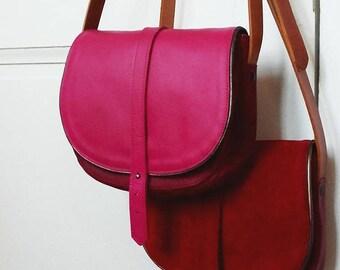 Crossbody bag, leather handbag, saddle bag, shoulder bag, genuine leather, pink leather bag, adjustable shoulder strap, vegetable leather