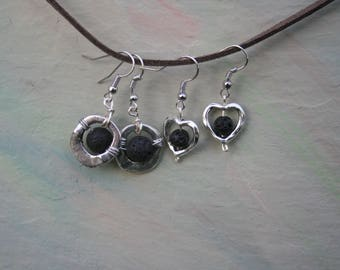 Diffuser Earrings, Lava Bead Earrings, Essential Oil Earrings, Aromatherapy Earrings, Lava Stone Diffuser Earrings, Silver and Black, Heart