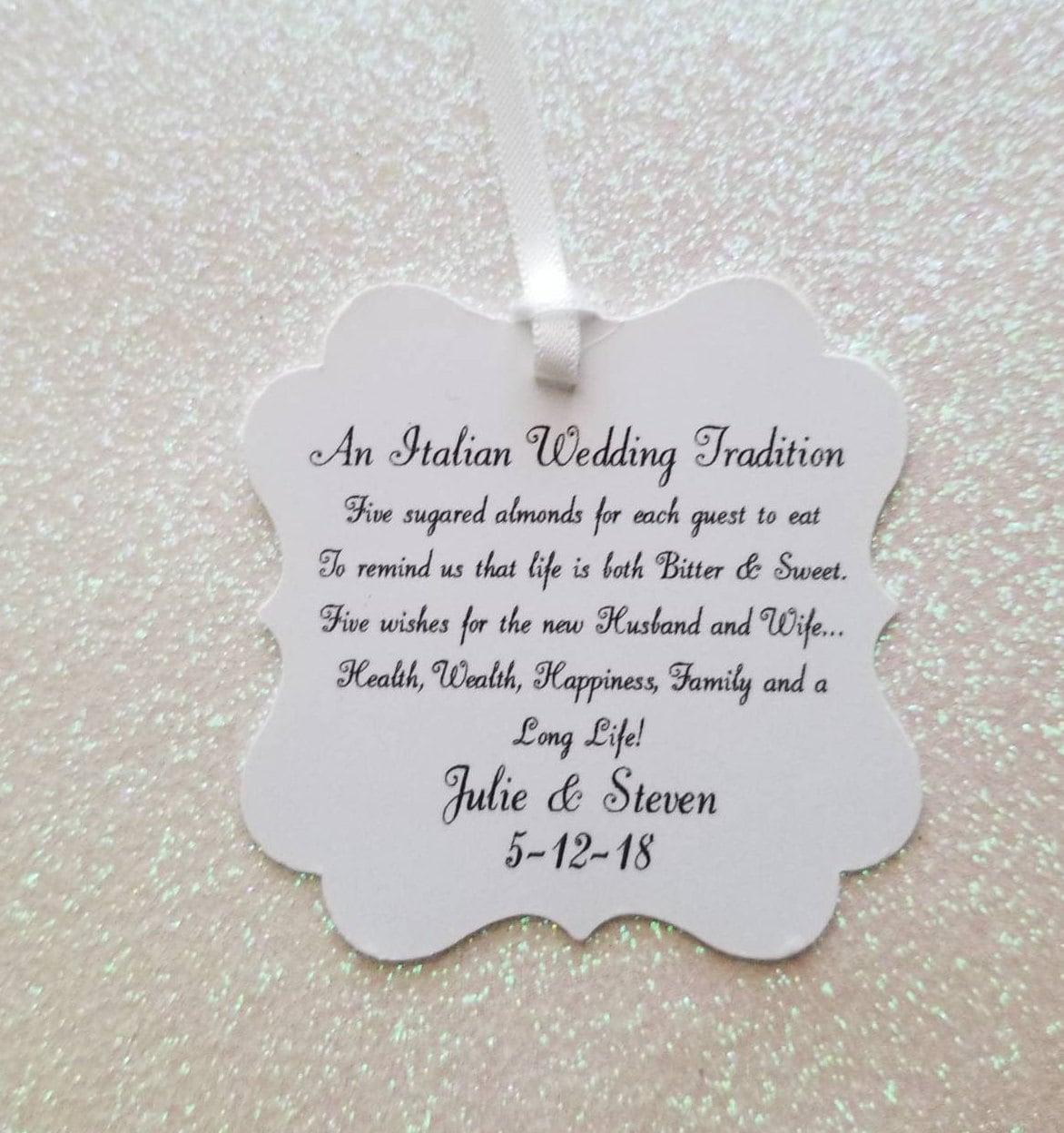 An Italian Wedding Tradition Favor Tags Jordan Almond Favor