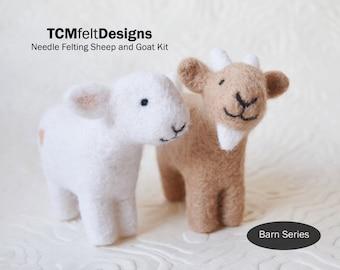 Needle Felting Kit, Sheep and Goat Barn Series, Beginner/Intermediate Level Fiber Art Kit