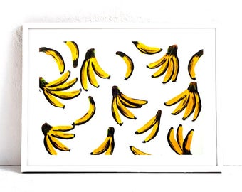 "Banana Wall Art - Banana Art Print - Kitchen Art - Tropical Decor - 8x10"" Print"