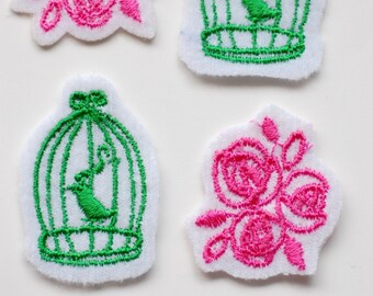 Birdcage and Roses Iron-on Applique (4pk) - LAST PACK
