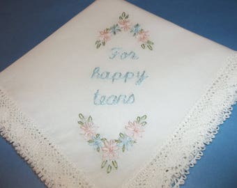 Bridal gift, wedding handkerchief, hand embroidered, for happy tears, something blue, daisy motif, gift for bride, bridesmaid , rustic ,