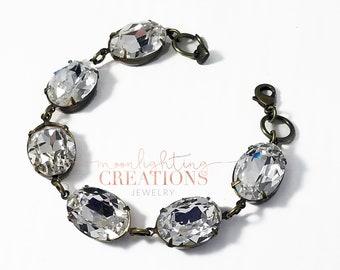 Swarovski Crystal Bracelet, Bridal Bracelet, Clear Diamond Sparkle, Wedding Jewelry, Great Gatsby