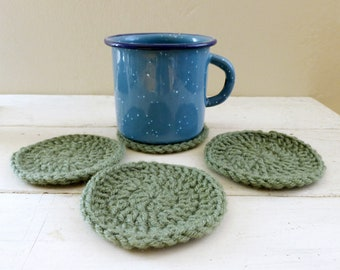 Round Crochet Coasters, green crochet coasters, wedding present, housewarming  gift, fabric lined, cute crochet coasters, granny chic