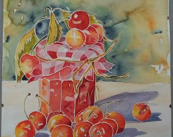 Watercolor is jam jar / cherry/on paper 300 g
