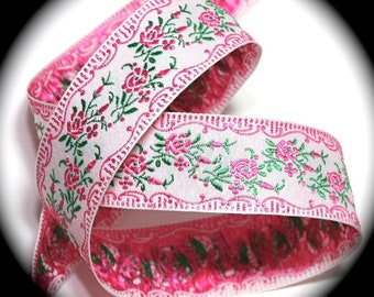 "Woven Ribbon - 1"" x 3 yds Pink and Green Floral Jacquard  - SALE"