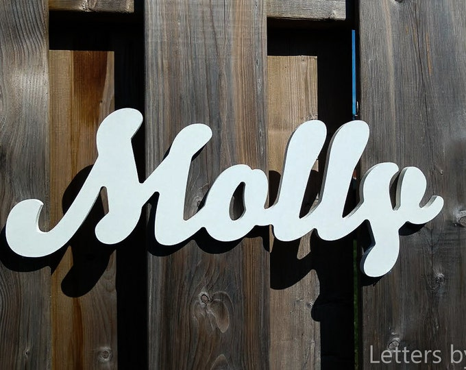 1 Piece Connected Letters, Wooden name sign, Nursery Name Signs. Wooden Nursery Wall Letters and Names Decor.