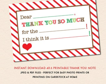Holiday Stripe - Fill In The Blank - Christmas Thank You Note (Instant Download - Digital Files)