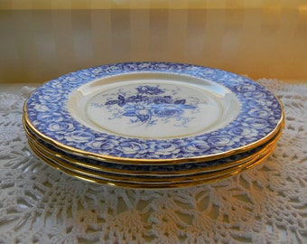 4 Paragon, DW, Blue Roses, Rose Bouquet, A833, English Bone China, (4) Luncheon Plates