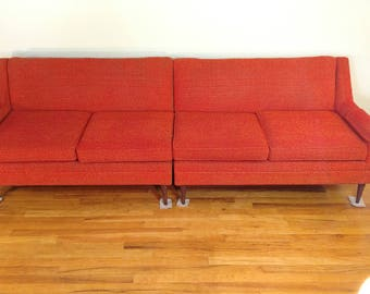 Mid Century Flexsteel Two Piece Sectional Sofa